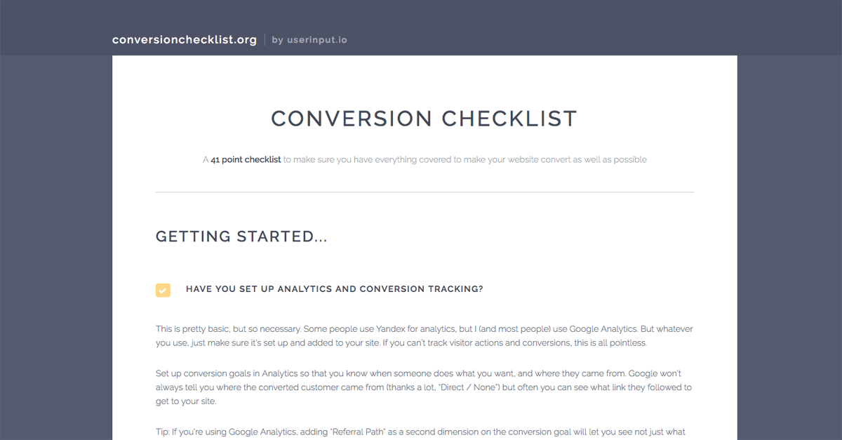 A 41 point conversion checklist, so that you can get as much revenue and as many leads as possible out of your website